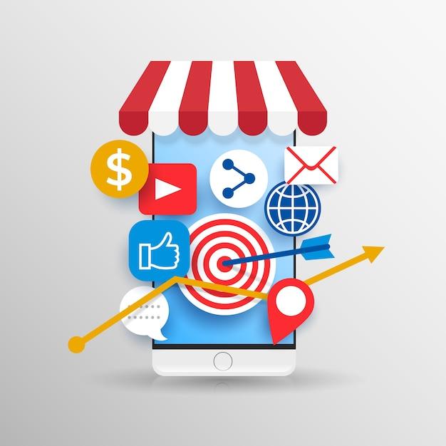 Social media marketing mobiele telefoon Gratis Vector