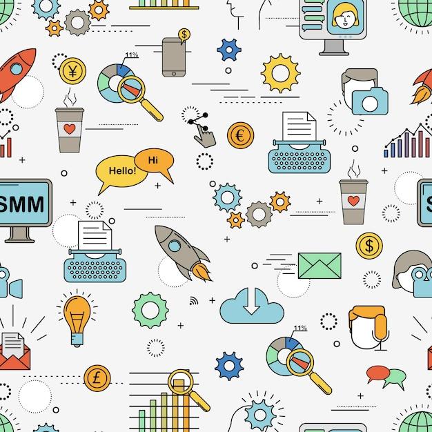 Social media marketing naadloze patroon Premium Vector