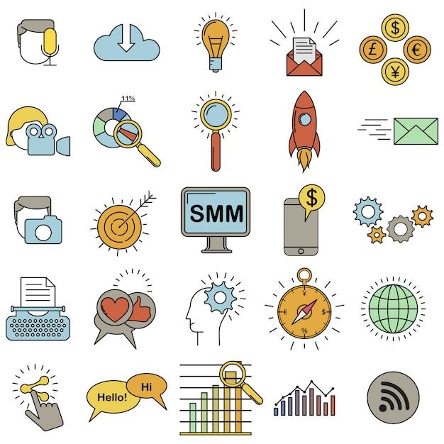 Social media marketing pictogrammen gekleurde set. Premium Vector