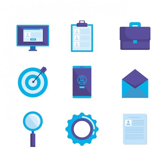 Social media marketing vastgestelde pictogrammen Gratis Vector