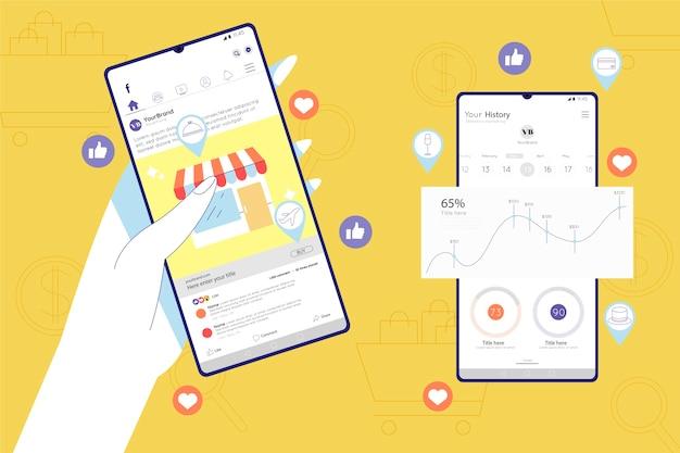 Social media mobiele telefoon concept Gratis Vector