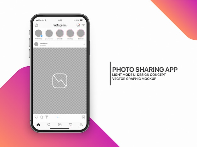 Social media mockup ui ux-sjabloonlay-out Premium Vector