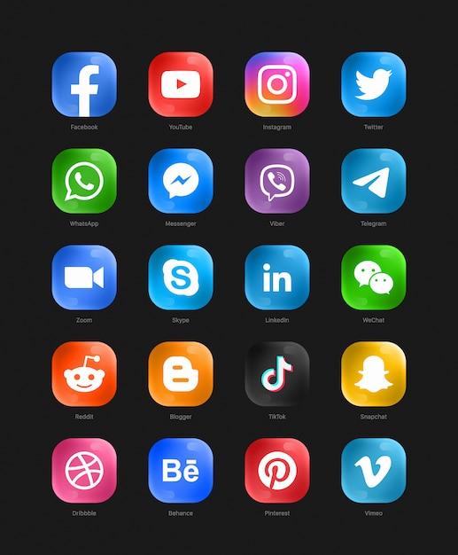 Social media modern glass 3d web icons set Premium Vector