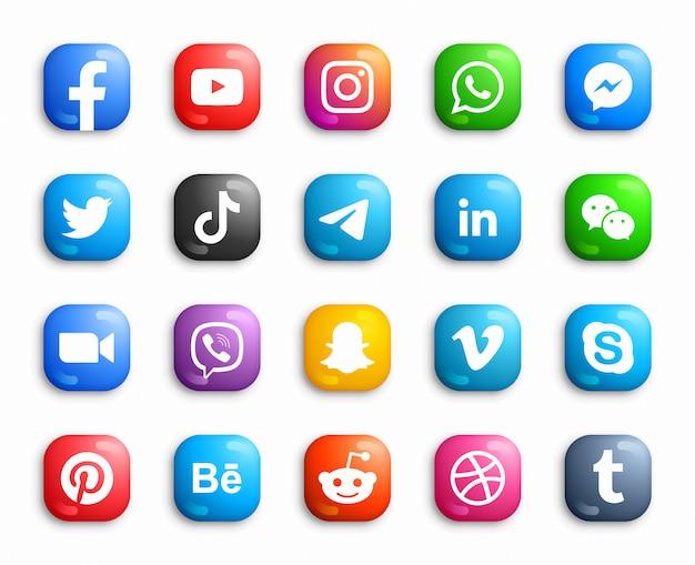 Social media modern ios 3d-pictogrammen instellen Premium Vector