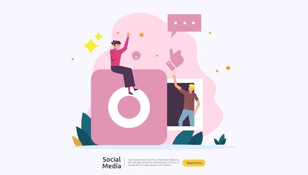 Social media netwerk en influencer concept met jongeren karakter in vlakke stijl Premium Vector
