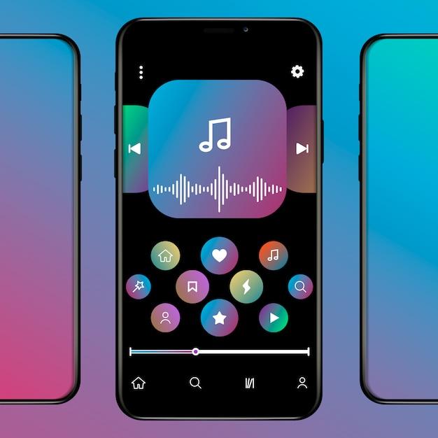 Social media netwerk geïnspireerd door apple music. mobiele app-interface. abonnement muziekspeler. profiel, album, nummer, afspeellijst. applemusic scherm. illustratie. Premium Vector