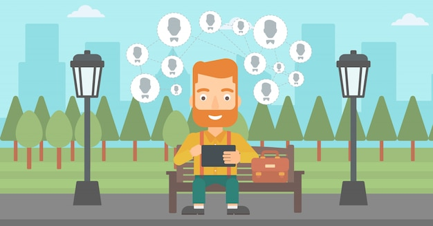 Social media netwerk. Premium Vector