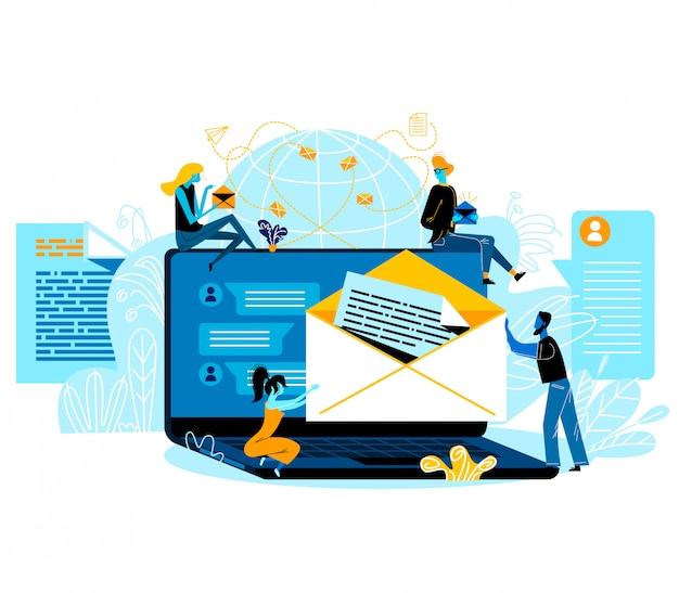 Social media-netwerken, e-mailberichten, internetcommunicatie. mensen met papieren enveloppen zitten rond van enorme laptop met correspondentiepagina op scherm, sms Premium Vector