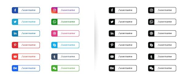 Social media onderste derde banners knoppen sjabloon Gratis Vector