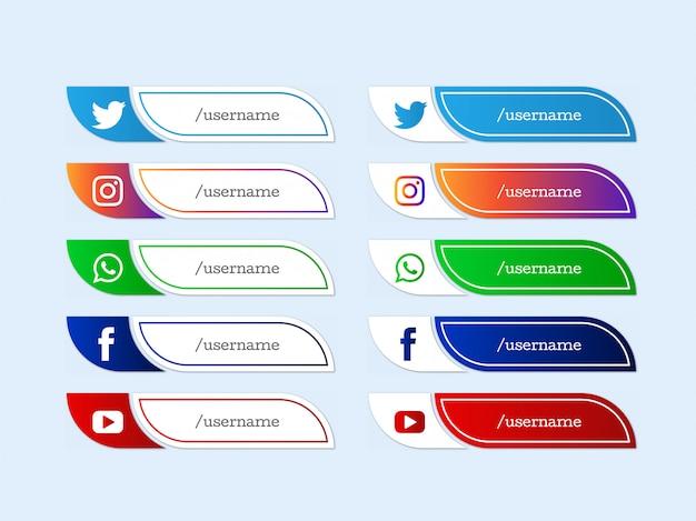 Social media onderste derde moderne iconencollectie Gratis Vector