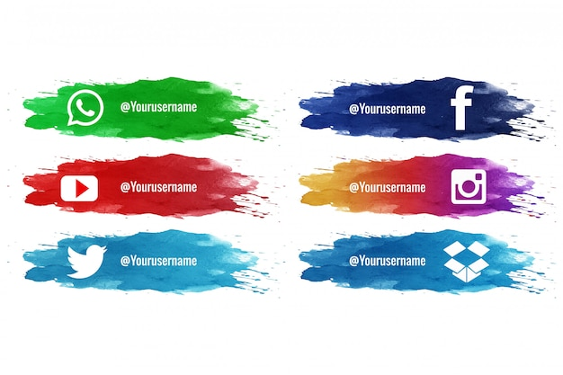 Social media onderste derde splash aquarelcollectie Gratis Vector
