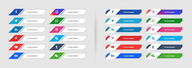 Social media onderste derde verzameling in moderne stijl Gratis Vector