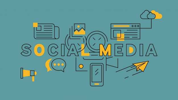 Social media orange in blue line design Premium Vector