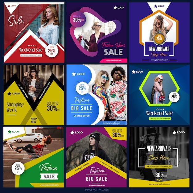 Social media-pakket voor digitale marketing Premium Vector