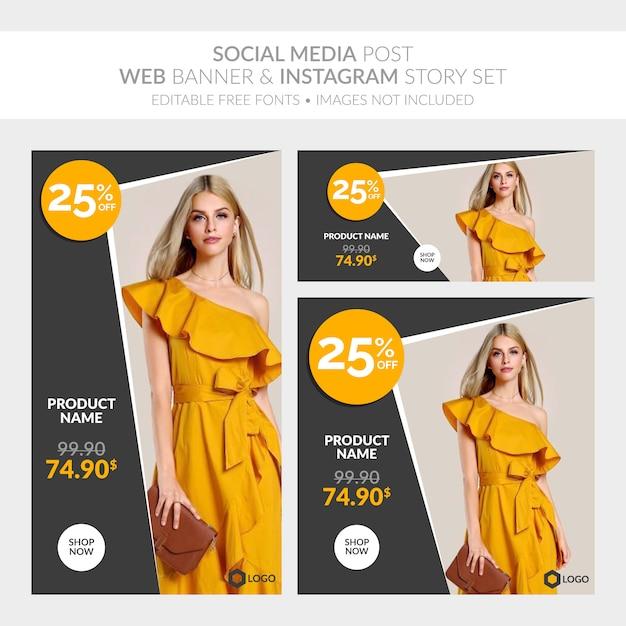 Social media plaatsen webbanner en verzameling instagramverhalen Premium Vector