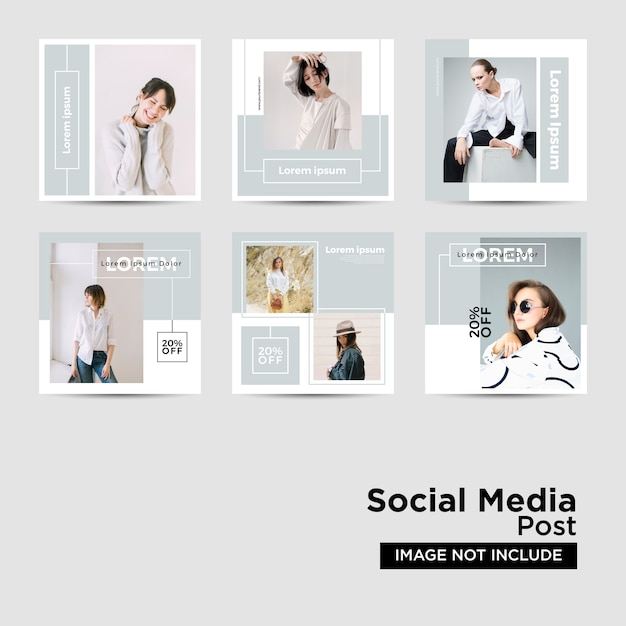 Social media post template-collectie Premium Vector