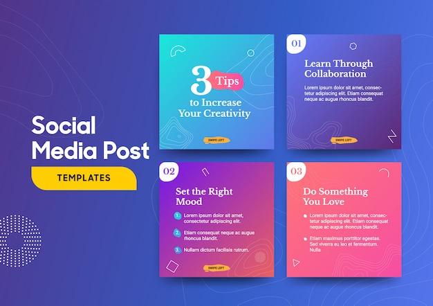 Social media postsjabloon met een cool topografie-ontwerpelement en trendy verloopkleuren Premium Vector