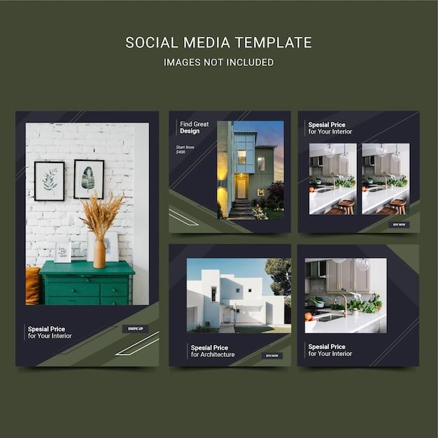 Social media-sjabloon voor architectuur en interieur. zwart donkergroene kleur. Premium Vector