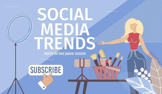 Social media trends platte vector bestemmingspagina Premium Vector