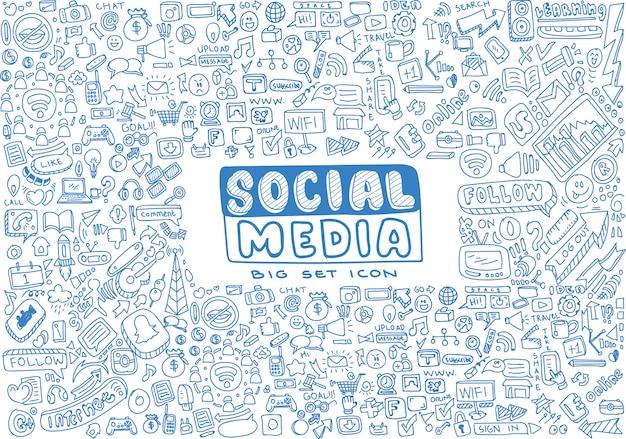 Social media vector doodles set Premium Vector