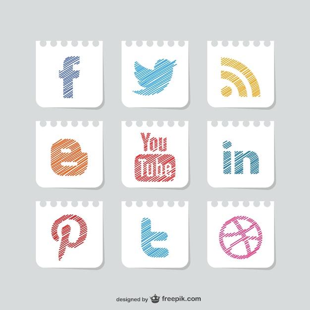 Social media vector set Gratis Vector