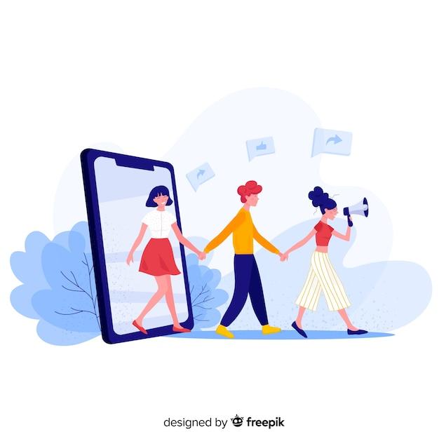 Social media verwijzen in een vriend concept Premium Vector
