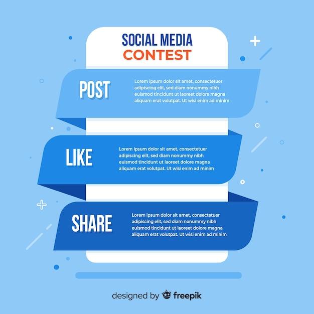 Social media-wedstrijdstappen met een plat ontwerp Gratis Vector