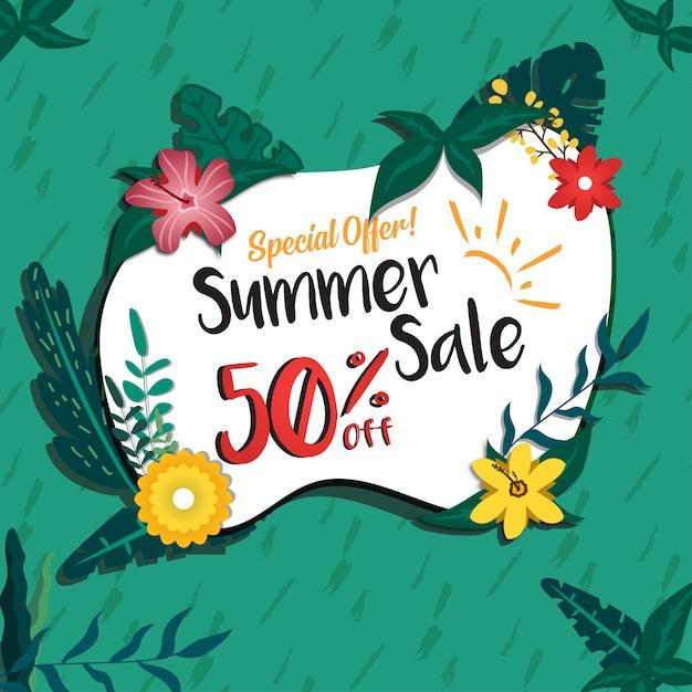 Social media zomer verkoop korting promotie ontwerp banner Premium Vector