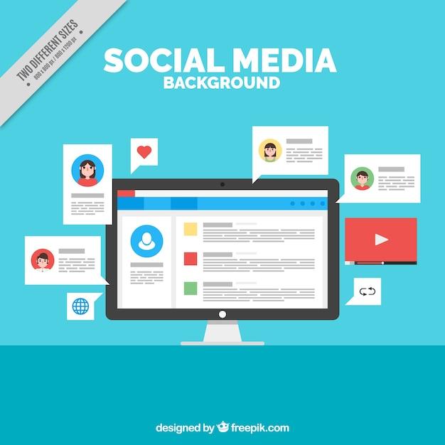 Social networking achtergrond met een computer Gratis Vector