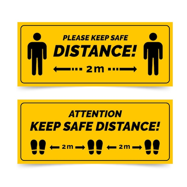 Sociale afstand banner teken Gratis Vector