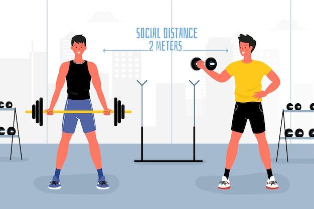 Sociale afstand bij de geïllustreerde gymnastiek Gratis Vector