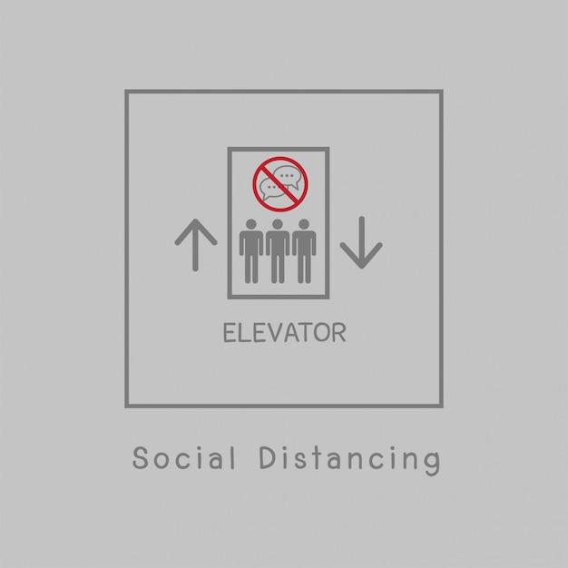 Sociale afstand illustratie Premium Vector