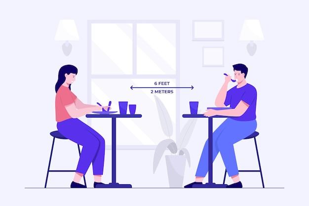 Sociale afstand in een geïllustreerd restaurant Gratis Vector