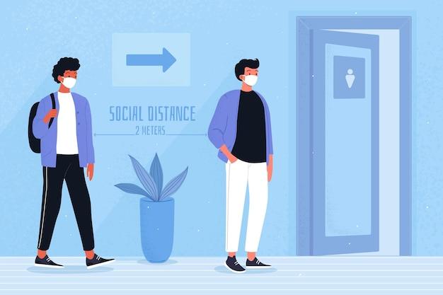 Sociale afstand in openbare toiletten Gratis Vector