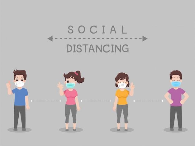 Sociale afstand, mensen die afstand houden voor infectierisico en ziekte Premium Vector