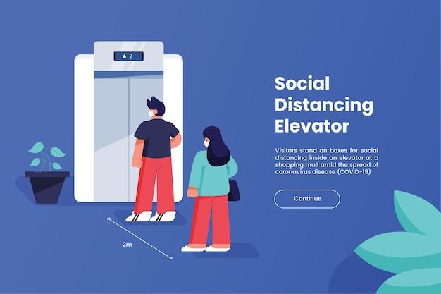 Sociale afstand nemen in een lift Gratis Vector