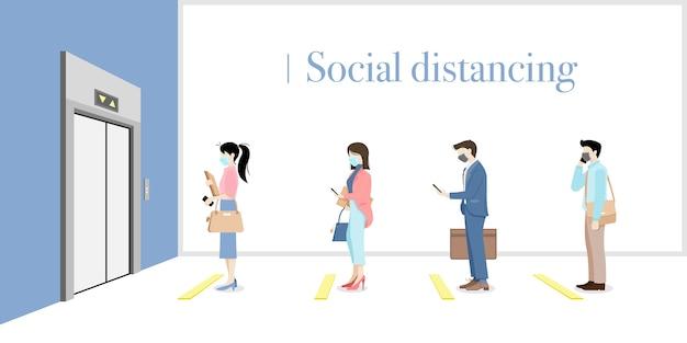 Sociale afstand nemen op kantoor Premium Vector
