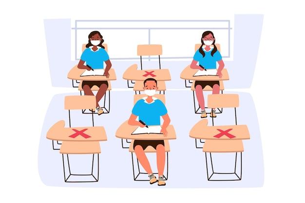 Sociale afstand nemen op school Premium Vector