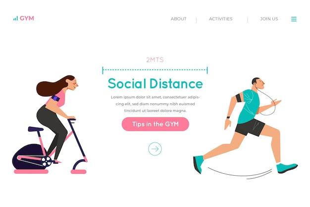 Sociale afstand op de bestemmingspagina van de sportschool Gratis Vector