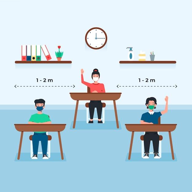 Sociale afstand op de openbare school Gratis Vector