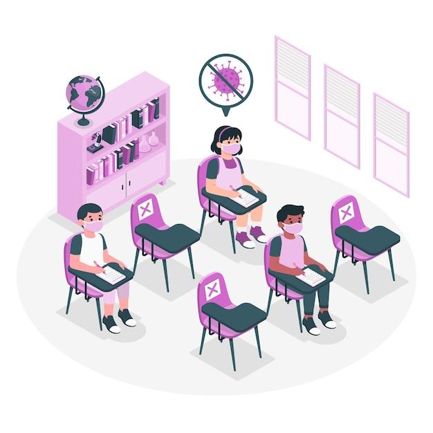 Sociale afstand op school concept illustratie Gratis Vector