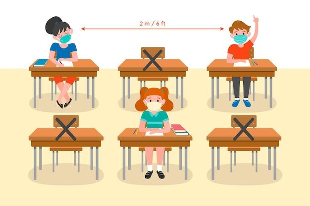 Sociale afstand op schoolconcept Gratis Vector