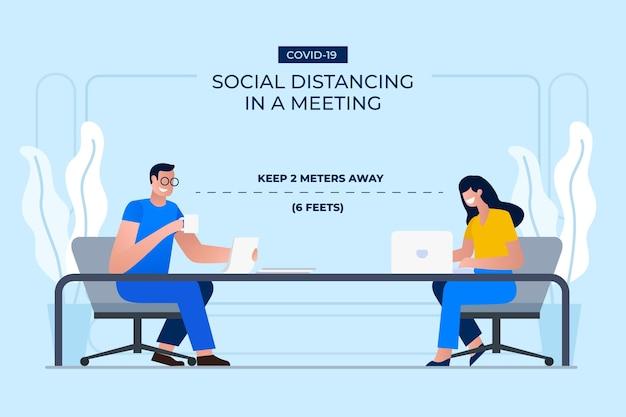 Sociale afstand tijdens een vergadering Gratis Vector