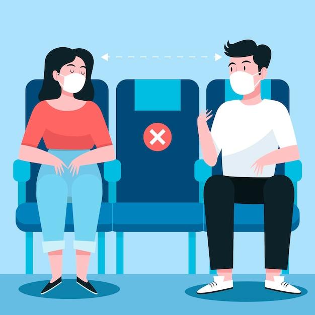 Sociale afstand tussen passagiers Gratis Vector