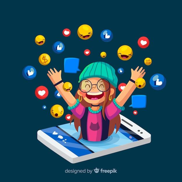 Sociale beïnvloeder concept Gratis Vector