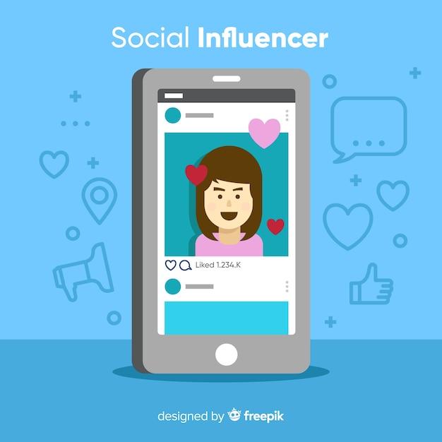 Sociale beïnvloeder Gratis Vector