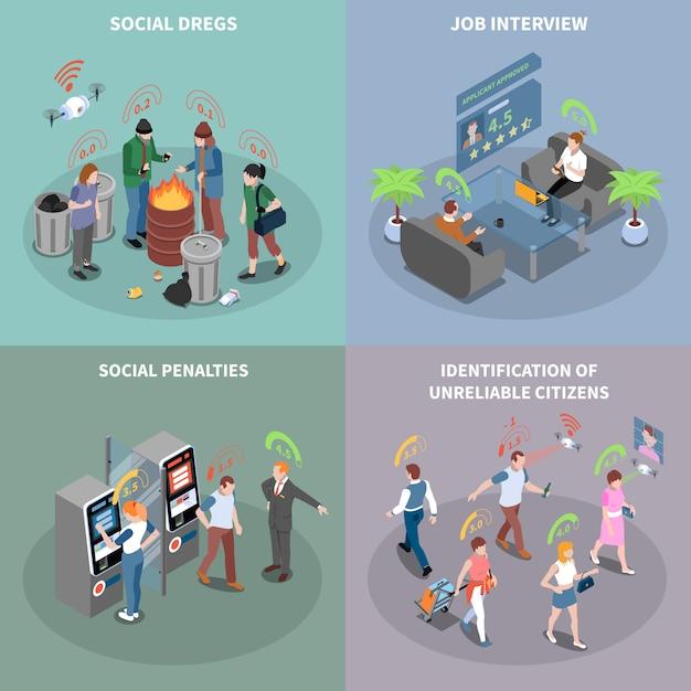 Sociale credit score systeem isometrische kaarten instellen Gratis Vector