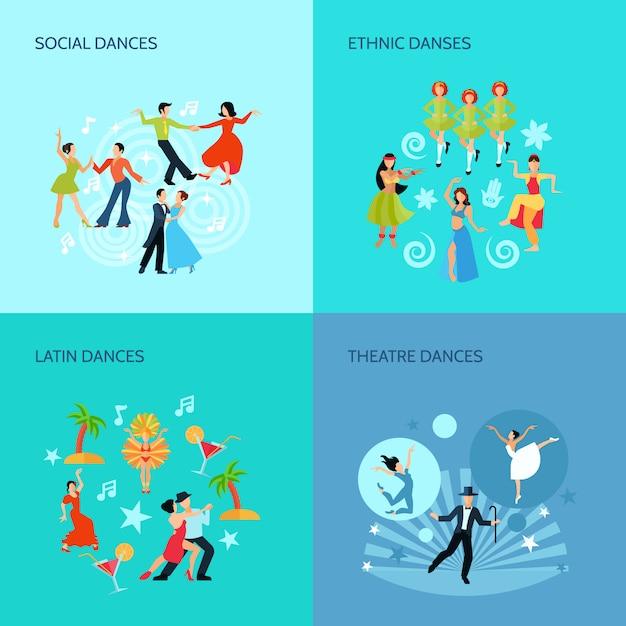 Sociale etnische latin en theater dansen vlakke stijl 4 posters concept Gratis Vector
