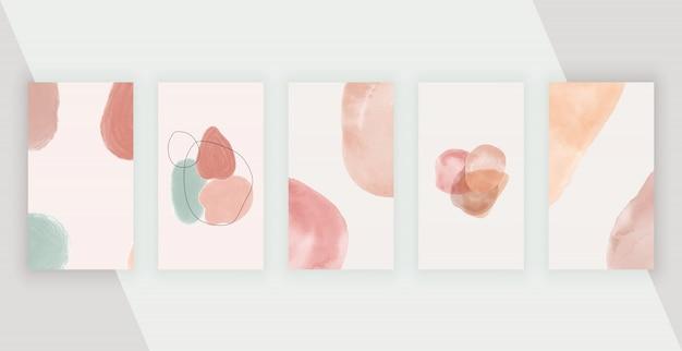 Sociale media-achtergronden met artistieke uit de vrije hand abstracte handschilderingsvormen Premium Vector