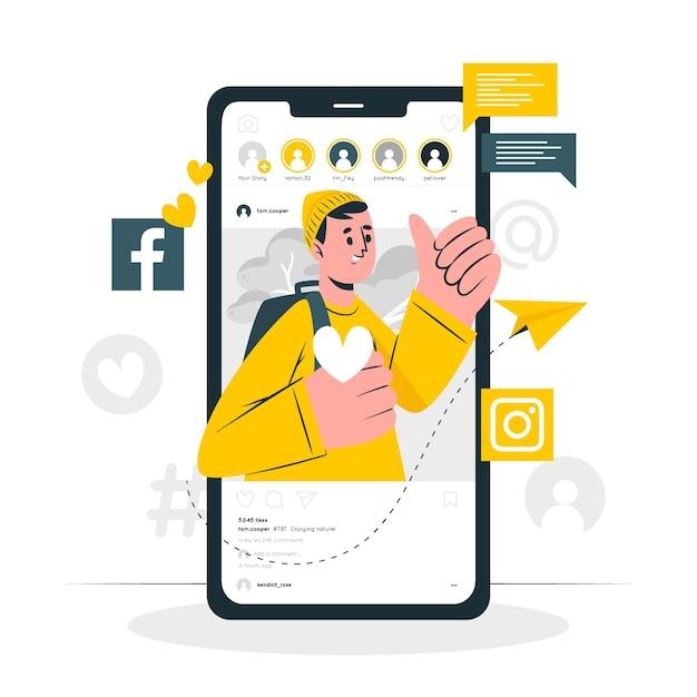 Sociale media concept illustratie Gratis Vector